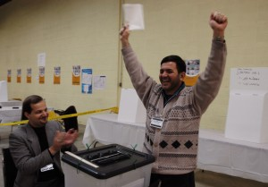 One of the first voters Khalil Labi casts his ballot for the Iraqi National Assembly elections January 2005.  Mississauga, Toronto
