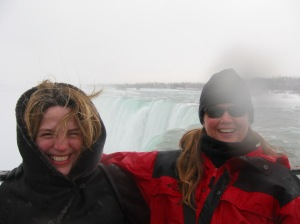 At the Niagara Falls with my cousin Fiona.  It was well below freezing that day and the vapour form the falls froze my hair!
