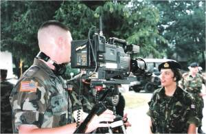 Being interviewed by Combat Camera - the US led internal communications team that kept the 34,000 SFOR/NATO troops up to date.