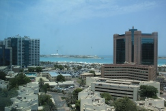 The view from my bedroom at Crystal Tower in Khalidya, looking towards Marina Mall.