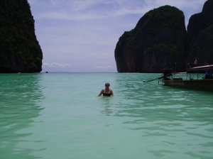 """This is the famous beach, as featured in the film """"The Beach"""".  I also did my rescue diver assessment and examination here."""