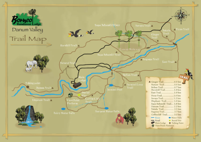 Map Credit: Borneo Rainforest Lodge http://www.borneonaturetours.com/www/brl_trailmap.aspx